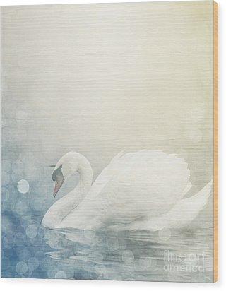 Swan Wood Print by Jelena Jovanovic