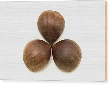 Wood Print featuring the photograph Sweet Chestnuts Fruits by Fabrizio Troiani