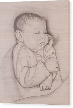 Wood Print featuring the drawing Sweet Sleep by Sharon Schultz