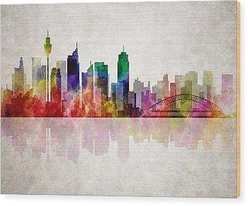 Sydney Australia Skyline Wood Print by Daniel Hagerman