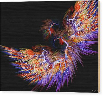 Symbol Of Fire Wood Print by Lourry Legarde