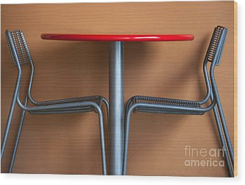 Table And Chairs Wood Print by Dan Holm