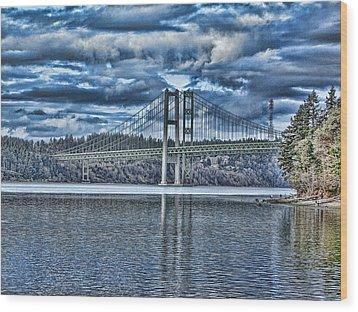 Tacoma Narrows Bridge Wood Print by Ron Roberts