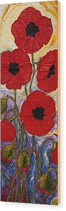 Tall Red Poppies Wood Print by Paris Wyatt Llanso