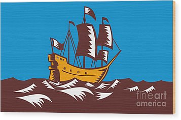Tall Sailing Ship Retro Woodcut Wood Print by Aloysius Patrimonio
