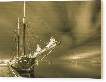 Tall Ship In The Lights Of Toronto Wood Print