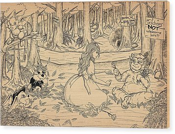 Wood Print featuring the drawing Tammy And The Baby Hoargg by Reynold Jay