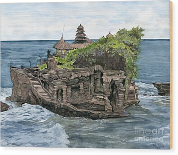 Wood Print featuring the painting Tanah Lot Temple Bali Indonesia by Melly Terpening