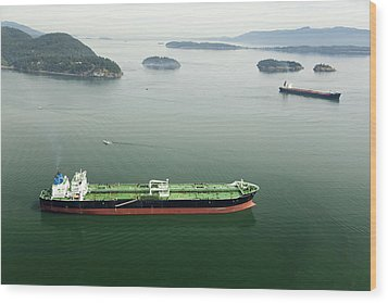 Tanker Ships At Anchor Offshore Of The Wood Print by Andrew Buchanan/SLP