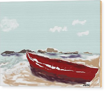 Wood Print featuring the painting Tattered Old Boat by Jessica Wright
