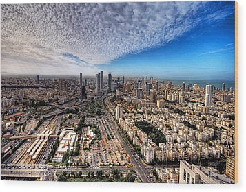 Tel Aviv Skyline Wood Print by Ron Shoshani