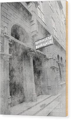 Telegraf Building In Foggy Oslo Wood Print by Sophie Vigneault