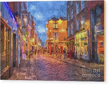 Temple Bar District In Dublin At Night Wood Print by Patricia Hofmeester