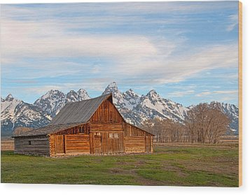 Teton Barn Wood Print by Steve Stuller