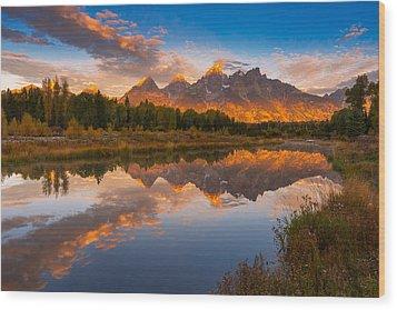 Teton Morning Mirror Wood Print