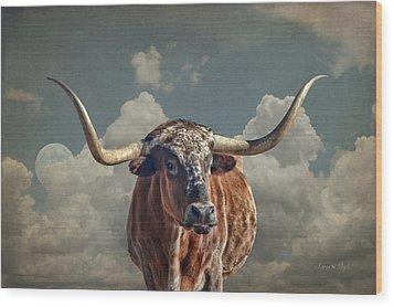 Texas Longhorn Wood Print by Karen Slagle