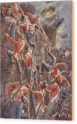 The 5th Division Storming By Escalade Wood Print by William Barnes Wollen
