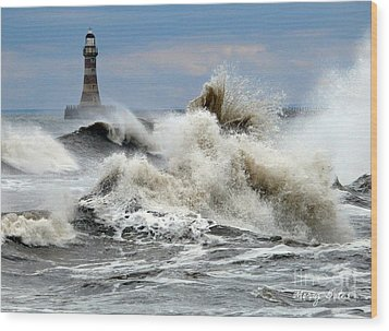 The Angry Sea Wood Print by Morag Bates