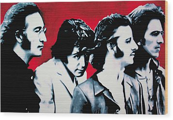 The Beatles Wood Print by Luis Ludzska