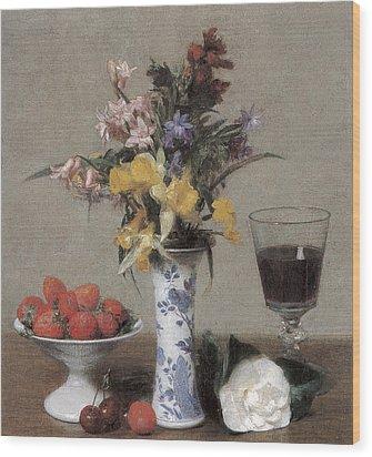 The Betrothal Still Life Wood Print by Henri Fantin-Latour
