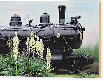 The Black Steam Engine Wood Print by Bonnie Willis
