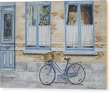 The Blue Bicycle Wood Print