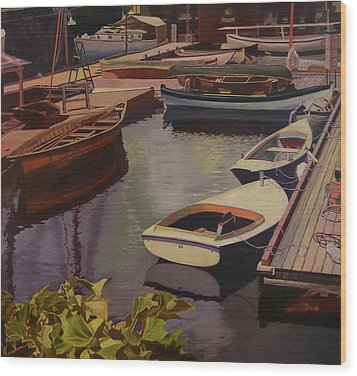 The Canvas Boat Wood Print by Thu Nguyen