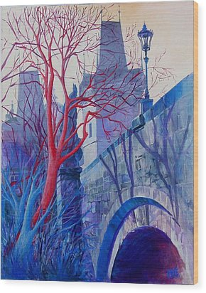 The Charles Bridge Blues Wood Print