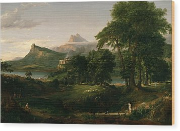 The Course Of Empire The Arcadian Or Pastoral State Wood Print