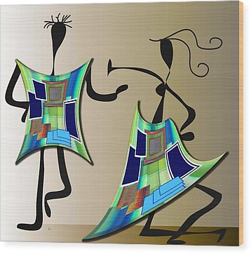 The Dancers Wood Print by Iris Gelbart