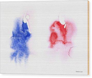 The Dancers Wood Print by Sonia Lee