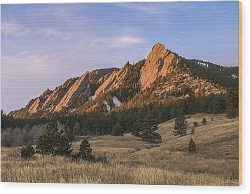 The Flatirons Wood Print by Aaron Spong