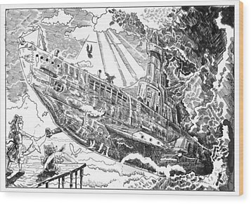 Wood Print featuring the drawing The Flying Submarine by Reynold Jay