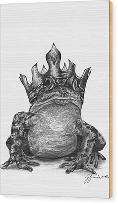 Wood Print featuring the drawing The Frog Prince by J Ferwerda