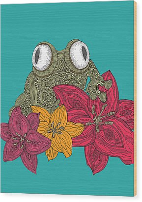 The Frog Wood Print by Valentina Ramos