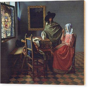 The Glass Of Wine Wood Print by Johannes Vermeer