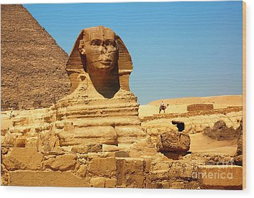 Wood Print featuring the photograph The Great Sphinx Of Giza And Pyramid Of Khafre by Joe  Ng
