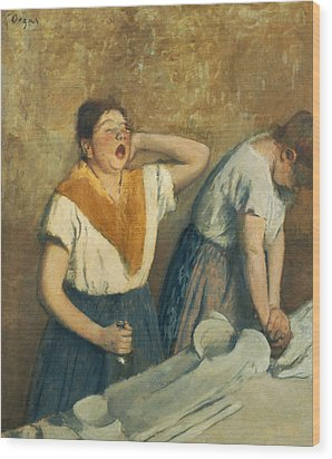 The Laundresses Wood Print by Edgar Degas