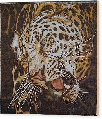 The Leopard's Hello Wood Print by Cynthia Adams