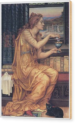 The Love Potion Wood Print by Evelyn De Morgan