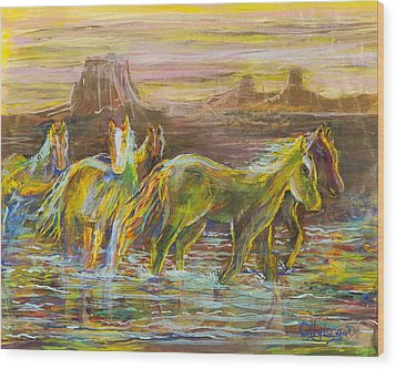 Wood Print featuring the painting The Move by Cathy Long