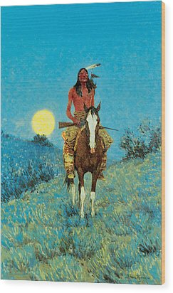 The Outlier Wood Print by Frederic Remington