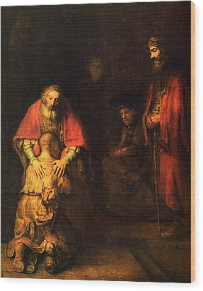 The Prodigal Son Wood Print by Rembrandt