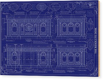 The Resolute Desk Blueprints - Dark Blue Wood Print by Kenneth Perez