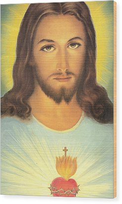 The Sacred Heart Of Jesus Wood Print by French School