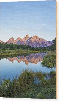 The Tetons Reflected On Schwabachers Landing - Grand Teton National Park Wyoming Wood Print by Brian Harig