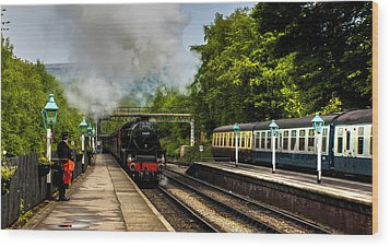 The Train Arriving Wood Print by Trevor Kersley