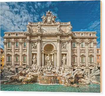 The Trevi Fountain - Rome Wood Print by Luciano Mortula