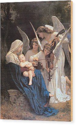 The Virgin With Angels Wood Print