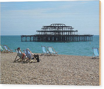 The West Pier Brighton Wood Print by Mike Lester